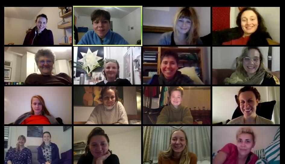 Screenshot der Mitfrauen* auf der Mitfrauen*vollversammlung im Dez